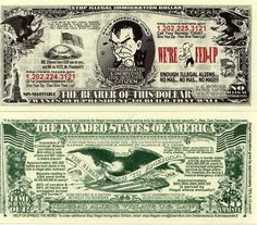 Stop Illegal Immigration Dollar Novelty Money Money Notes, Coin Values, Picture Show, My Ebay, Wealth, Store, Illustration, Funny, Books