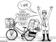 bikeyface bike loaded with packages Cargo Bike, Cycling Art, Girls In Love, Tricycle, Biking, Funny Pictures, Sketches, Cartoon, Sports