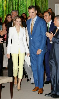 "03 July 2014 King Felipe and Queen Letizia attended the Delivery of ""Scholarships and Research Grants"" of Iberdrola Foundation at Casa de America in Madrid"