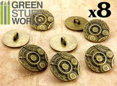 8x Boutons ROUAGES et ENGRENAGES  Doré Antique  par GreenStuffWorld
