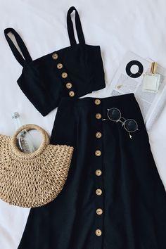 Sweet as Ever Black Two-Piece Midi Dress 5