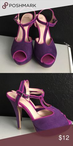 Purple & Pink Peep Toe Heels The fun and flirty peep toe heel with pink accented trim. Wear for any occasion! Elle Shoes Heels