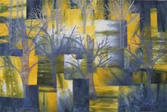 Swamp Trees, an art quilt by Kathy Angel Lee.  Made in an online Instant Art Quilt class taught by Ellen Lindner.  When Kathy's torn background produced an etherial marshy look, she took advantage of it by adding trees made from sheer fabrics.  See more student work at www.AdventureQuilter.com
