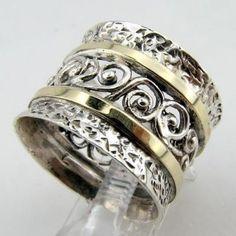 Argent sterling intégré taille de bande filigrane or par jewela