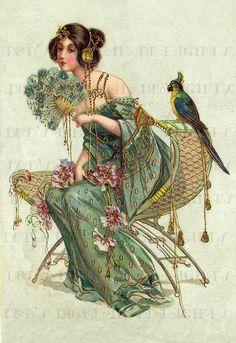 Rare Gorgeous Art Nouveau Lady VINTAGE by DandDDigitalDelights