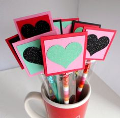 Pencil Valentines - Personalized Pencil Filled Kids Valentines - Classroom Pack for School Valentine Exchange - Valentine Favors, Treats