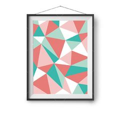 Colorful Art Mint Coral Print Abstract Poster Geometric