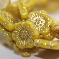 Czech Pressed Glass Flower Beads Yellow with Golden by CzechLaVie