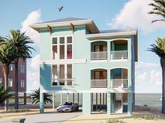 The Rendezvous Bay plan is a two-unit duplex design. Each unit has SF. Beach House Floor Plans, Beach House Plans, Family House Plans, Architectural Design House Plans, Architect Design, Duplex Design, Covered Front Porches, Duplex House Plans, House On Stilts