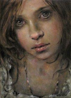 "MOONGLANCE Original FIGURE Oil Portrait OOAK 5"" x7"" x 1.5"" Gallery Wrapped"