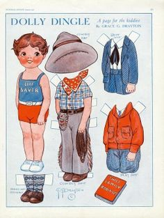 1931 DOLLY DINGLE Paper Dolls for August - COWBOY - Life Guard *** Paper dolls for Pinterest friends, 1500 free paper dolls at Arielle Gabriel's International Paper Doll Society, writer The Goddess of Mercy & The Dept of Miracles, publisher QuanYin5