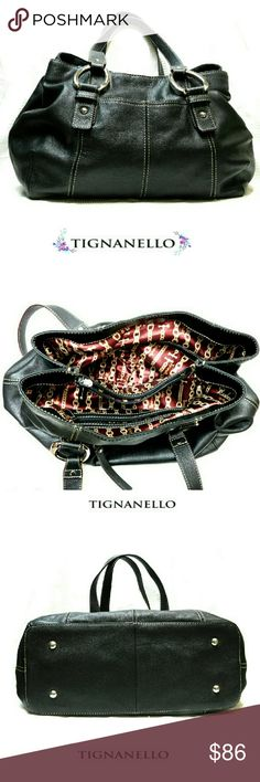"""??NWOT?? TIGNANELLO BLACK PEBBLED  LEATHER SHOULDE ??NWOT?? TIGNANELLO BLACK PEBBLED LEATHER SHOULDER BAG  EUC Beautiful Black Pebbled Leather Shoulder Bag with PLENTY of Room and Silver Hardware .*   Front Pouch & Back Zipper Compartment *   Magnetic Closing w/Divided Zip Comptmnt  *   Interior Zip & 2 Slip Comptmnt *   Silky Wine & Beige Lining *   2 Shoulder Straps Approx Meas;    *   H   10""""    *   L   14""""    *   W   5 1/2""""    *   Drop   10"""" Pls See All Pics. Ask ? If Not Sure Tignanello…"""
