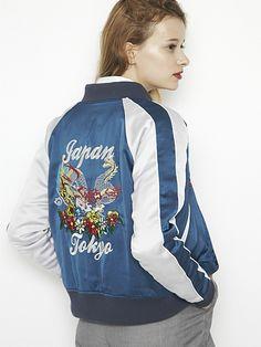 迫力の後ろ姿☆おしゃれなスカジャンの着こなし☆コーデ・スタイル・ファッションの参考に♪