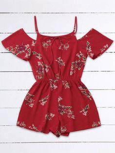 af625056f385 Cold Shoulder Floral Cami Playsuit - Red Cute Rompers