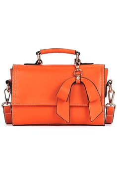 Bowknot Orange Pochette Shoulder Bag. Description Orange pochette shoulder bag, made from a leather-look fabric,featuring smooth matte finish, inner zipper pocket and detachable strap with an adjustable length finish, rear magnetic button. Fabric Vinyl. Washing Specialist Dry Clean. #Romwe