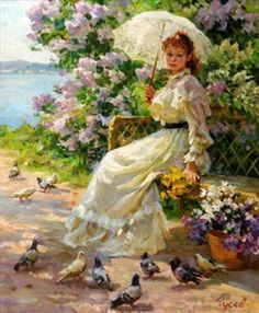 View Feeding the pigeons By Vladimir Gusev; Oil on canvas; Access more artwork lots and estimated & realized auction prices on MutualArt. Victorian Paintings, Victorian Art, Vintage Paintings, Am Meer, Classical Art, Russian Art, Woman Painting, Pictures To Paint, Types Of Art
