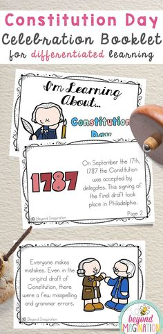 Constitution Day celebration booklet. Fun facts and activities for first grade, second grade, third grade, fourth grade, and kindergarten. Printables for elementary. #constitution #day #tpt #fun #fact #booklet