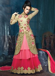 Embroidered Georgette Abaya style suit in Beige and Pink
