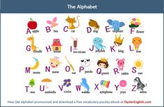 Here's the English Alphabet illustrated with pictures plus a video recording to help you pronounce the letters correctly. Alphabet A, Alphabet For Kids, Learning The Alphabet, Learning English For Kids, English Worksheets For Kids, English Lessons For Kids, Teaching English, English Alphabets With Pictures, Alphabet Pictures
