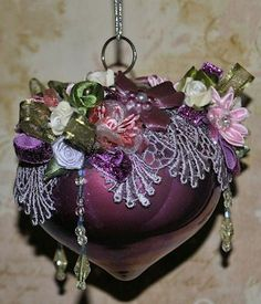 Purple Top Glass Ornament