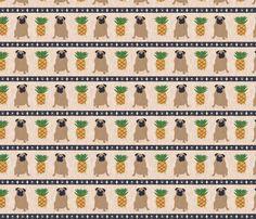 Primitive Pug and pineapple - large border width fabric by rusticcorgi on Spoonflower - custom fabric