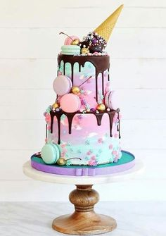 79 Amazing cake inspiration for special celebration - birthday cake ideas, celebration cakes Cute Cakes, Pretty Cakes, Beautiful Cakes, Amazing Cakes, Girly Cakes, Crazy Cakes, Bolo Cake, Ice Cream Party, Ice Cream Cone Cake