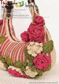 Bolsa em crochê passo a passo com gráfico e vídeos ( pap das flores ) - Katia Ribeiro Crochê Moda e Decoração