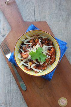 Black bean and sweet potato bake in the crock pot.