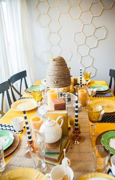 Bee Party: the popsicle stick beehive decoration-LOVE! The rope beehives- LOVE, and all the bee themed food- LOVE!!!