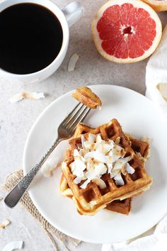 Grapefruit Buttermilk Waffles with Toasted Coconut - Cook Nourish Bliss