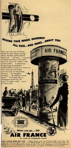 French National Airline's Air France Comet – Behind This Magic Doorway All This... And More... Await You (1949)