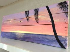 Sunset palm tree beach pallet art. by PelicanBayStudio on Etsy