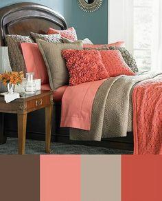 Coral and tan bedroom Possible bedroom colors Tan Bedroom, Home Bedroom, Bedroom Ideas, Pretty Bedroom, Peach Bedroom, Girls Bedroom, Modern Bedroom, Girl Room, Bedroom Interiors