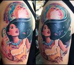 Love the watercolor - Danielle Porter- Wolf Tattoos, Finger Tattoos, Elephant Tattoos, Life Tattoos, Body Art Tattoos, Sleeve Tattoos, Tatoos, Disney Tattoos Pocahontas, Disney Princess Tattoo