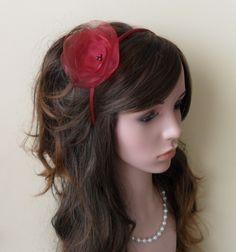14,-  //  Haarreif bordeaux farbe Fascinator Haarblume von Cosara auf DaWanda.com