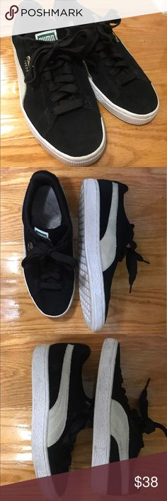 Suede Puma sneakers Worn only a couple times. Some discoloration on the white band but overall in great condition. They are a size 7 but I'm a seven and the fit is a bit snug. Puma Shoes Sneakers
