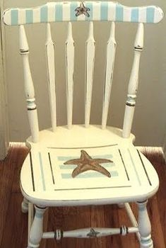 Painted Wooden Chair - for Beach Baby, do Seashells - for Queens Way do a French Country Color/Style! Use Whatever Trim Design that ! Painted Wooden Chairs, Hand Painted Furniture, Funky Furniture, Paint Furniture, Furniture Makeover, Wood Chairs, Western Furniture, Furniture Design, Dining Chairs