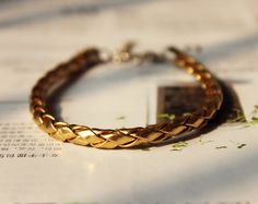 Natural golden Braided Leather Wrap Metal Clasp with Chain Extender Adjustable Bracelet S-5
