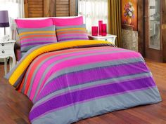 Dose Of Modern Elle Ranforce Single Quilt Cover Set (DE) - Grey Yellow Lilac Fuchsia Purple Cotton Bedding, Linen Bedding, Bed Linen, Single Quilt, French Bed, Lilac, Purple, Furniture Placement, Quilt Cover Sets