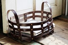 Leather & Copper Strap Basket - Kaufmann Mercantile ( out of my price range, but an idea of something I could possibly DIY?)