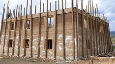 Rammed earth construction site in Tibet.    This is similar to our shuttering design, i can't wait to get started!