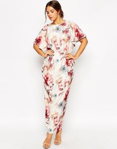Image 4 of ASOS CURVE Flutter Sleeve Maxi Dress in Painterly Floral