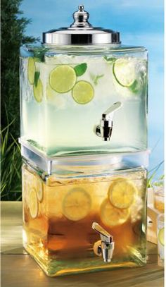 Two has always been more fun than one.. This 2 Tiered Beverage Dispenser features two Cubic Glass Jars that each hold 1.5 Gallons. Together, you get to serve 3 gallons of anyone's favorite lemonade, iced tea sangria or kumbucha. 10% off $69.95