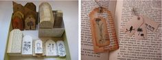 Tags made from old books!!! How cute!! I'll definitely be doing this soon!