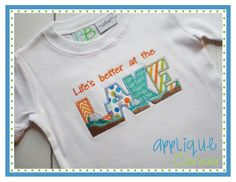 Life's better at the lake embroidery design