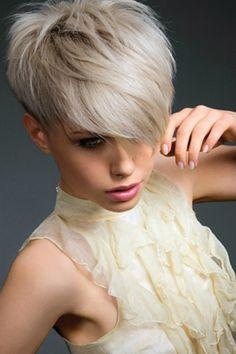 Layered Platinum Pixie Cut