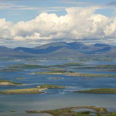Clew Bay View from Croagh Patrick, Westport, County Mayo, Ireland West Coast Of Ireland, Love Ireland, Ireland Travel, Westport Ireland, County Mayo Ireland, Places To Travel, Places To Visit, Destinations, Irish Landscape