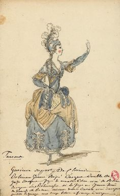 Costume pour Mlle Bernard dans Tancrède (André Campra): une guerrière, suivante de Clorinde  Dessins et croquis de costumes pour les opéras représentés à Paris et à Versailles de 1739 à 1767  Louis-René Boquet (1717-1814), 1764.