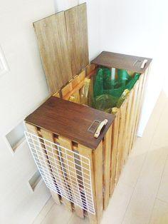 有限時間 すのこ de ゴミ箱②【DIY】 先日、完成したゴミ箱を相方宅に設置・最終調整しました。