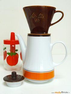 Cafetière porcelaine. Porte filtres MELITTA sur www.muluBrok.fr Vaisselle Vintage